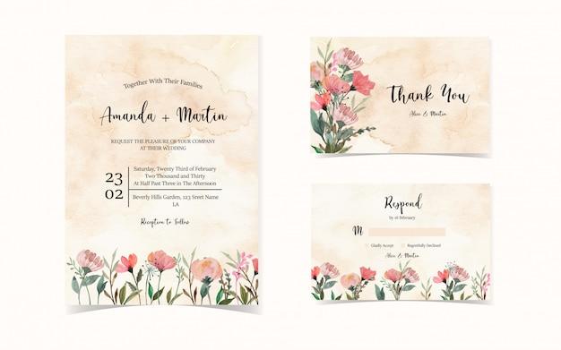 Set bloemen bruiloft uitnodiging met wilde bloemen
