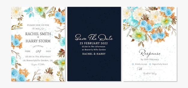 Set bloemen bruiloft uitnodigingskaart met herfstblad