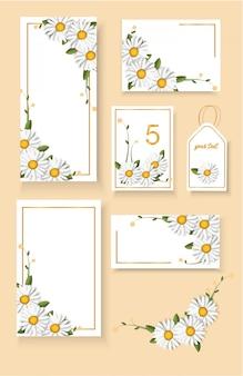 Set bloemen bruiloft uitnodigingskaarten met chamomille bloemdecoratie.
