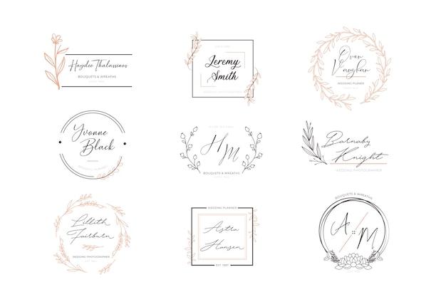 Set bloemen elegante logo's