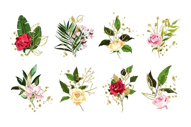 Set bloemen en planten met gouden elementen