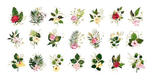 Set bloemen met bladeren en gouden elementen