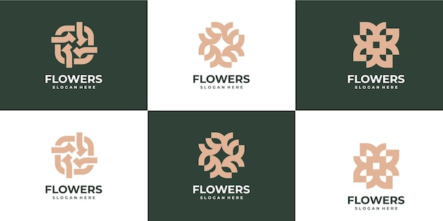 Set bloemen monoline logo luxe