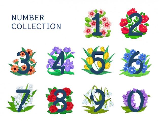 Set bloemen nummers