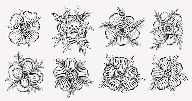 Set bloemen overzicht hand drawelement zwarte kleur in witte achtergrondbotanische plant bloem design