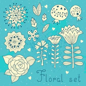 Set bloemenelementen