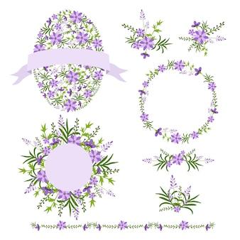 Set bloemenkransen en boeketten.