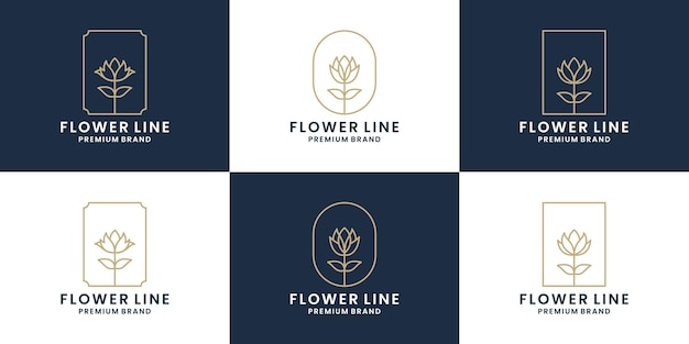 Set bloemenlijn, rozenlijn, frame bloemist logo ontwerp bloemenwinkel