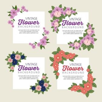 Set bloemstickers met bloemblaadjes en bladeren