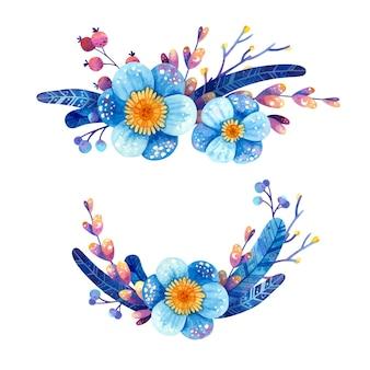 Set bloemstukken in blauwe en violette kleuren