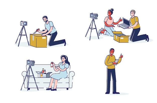Set bloggers die video's, lifestyle-inhoud en beauty-vlogs uitpakken. koop unboxing vlogs-concept