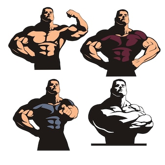 Set bodybuilder's poses, sterke gespierde bodybuilder, enorme man poseren