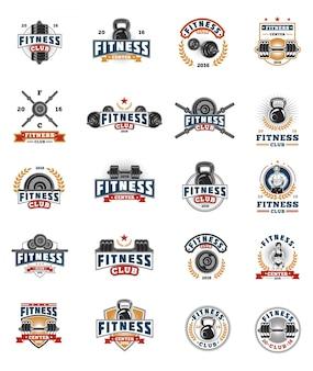 Set bodybuilding badges, stickers geïsoleerd op wit.