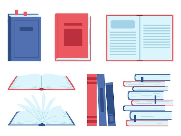 Set boeken geïsoleerd op een witte achtergrond. vectorillustratie in vlakke stijl.