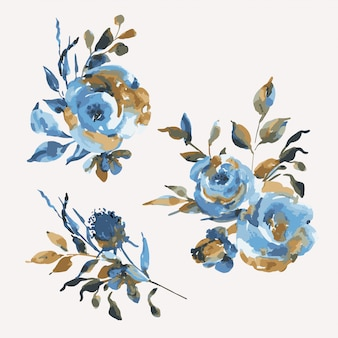 Set boeketten turquoise rozen, wilde bloemen, vintage designelementen. natuurlijke blauwe bloemen