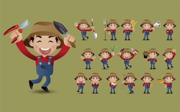 Set boer met verschillende poses