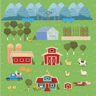 Set boerderijen, serre, schuur, huis met een molen. vectorillustratie in platte cartoon stijl.