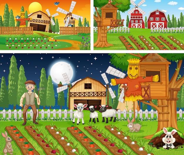 Set boerderijtaferelen op verschillende tijden