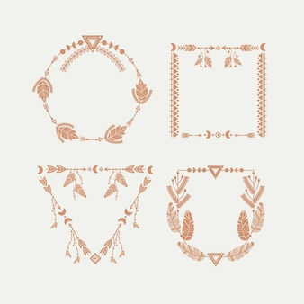 Set boho-frames in handgetekende stijl