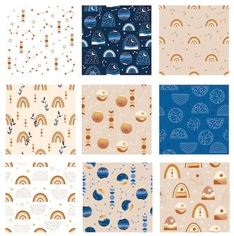 Set boho landschapspatronen. vector illustratie.