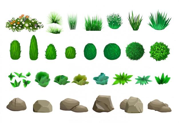 Set bomen struiken en stenen
