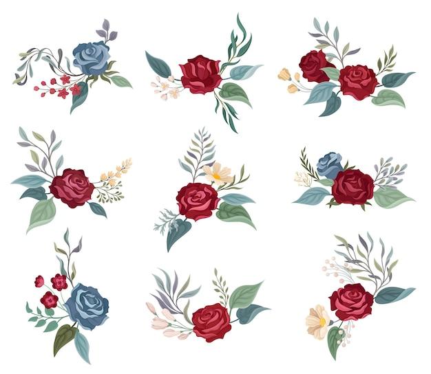Set bordeauxrode rozen op de takken