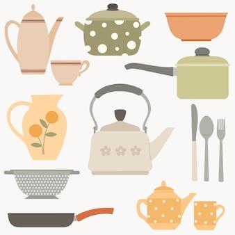 Set borden en keukenaccessoires potten