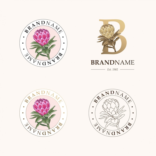 Set botanische logo sjablonen