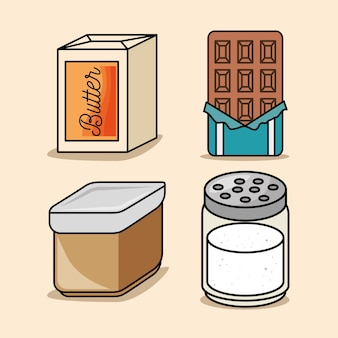 Set boter bar chocolade zout pictogrammen