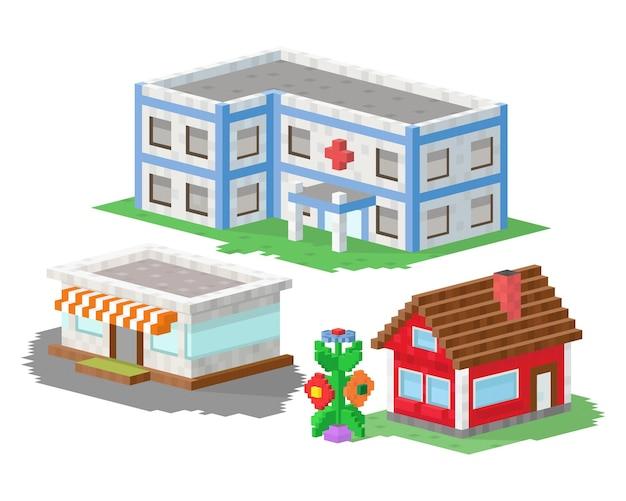 Set bouwconstructies op pixelart