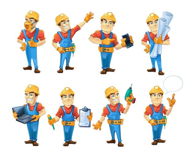 Set bouwers of handymans in actie houdingen