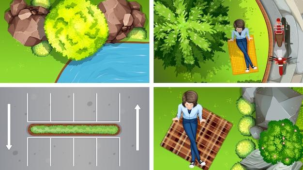 Set bovenaanzicht luchttaferelen of achtergrond in de natuur en buitenshuis