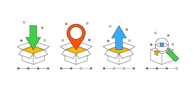 Set box iconen voor order tracking concept in moderne kaderstijl voor online bezorgservice
