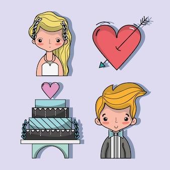 Set bried en bruidegom met pastel en hart met pijl