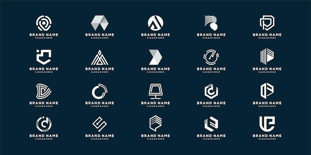 Set brief abstract logo met creatief element voor bedrijf of eerste persoon