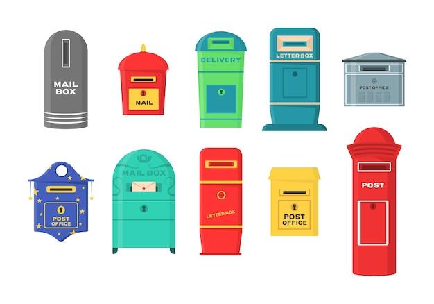 Set brievenbussen, brievenbussen, sokkels voor het verzenden en ontvangen van brieven, correspondentie, kranten, tijdschriften, rekeningen. set brievenbus voor bezorgingsenveloppen, pakket in vlakke stijl.