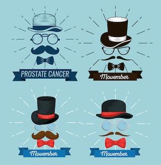 Set bril met hoed en snor met strik