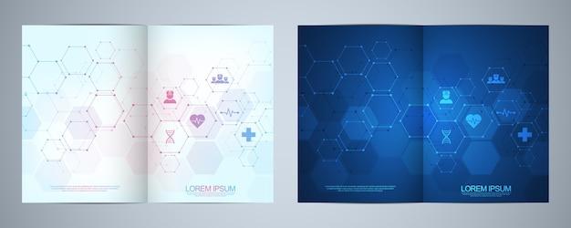 Set brochures met moleculen achtergrond en neuraal netwerk