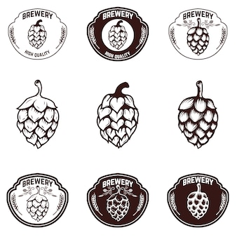 Set brouwerij emblemen. bier hoop illustraties. elementen voor label, teken, badge. illustratie