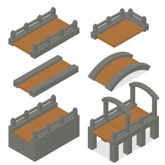 Set bruggen gemaakt van hout en steen. isometrische 3d-weergave. houten klassieke middeleeuwse brug. elementen van het kasteel. vector illustratie.