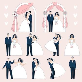 Set bruidsparen in verschillende poses. de bruid en bruidegom onder de huwelijksboog. doodle vectorillustratie