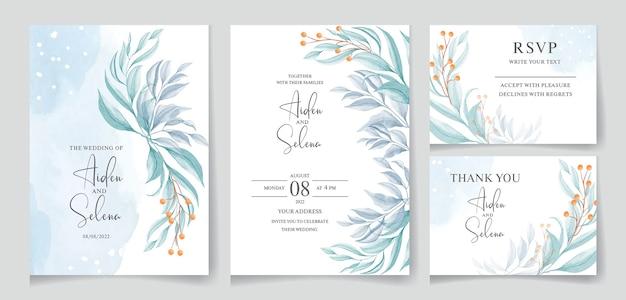 Set bruiloft aquarel uitnodiging met blauwe plons en mooie bladeren
