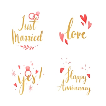 Set bruiloft en liefde typografie vectoren