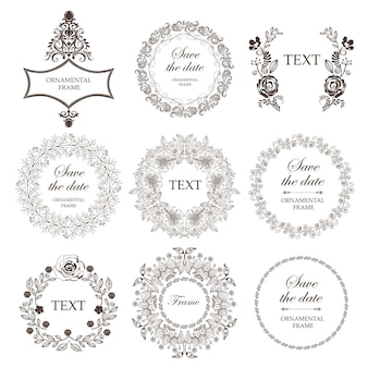 Set bruiloft floral frames.