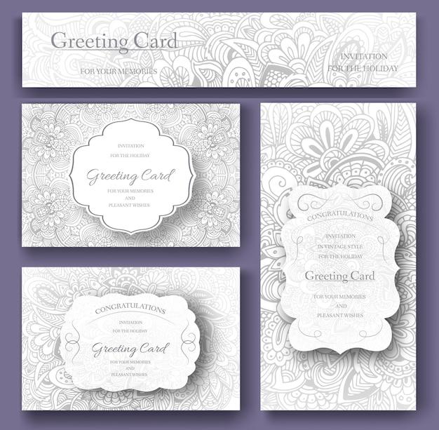 Set bruiloft kaart flyer pagina's ornament