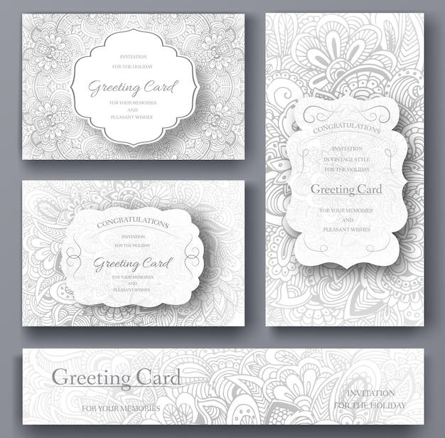 Set bruiloft kaart flyer pagina's sieraad illustratie concept