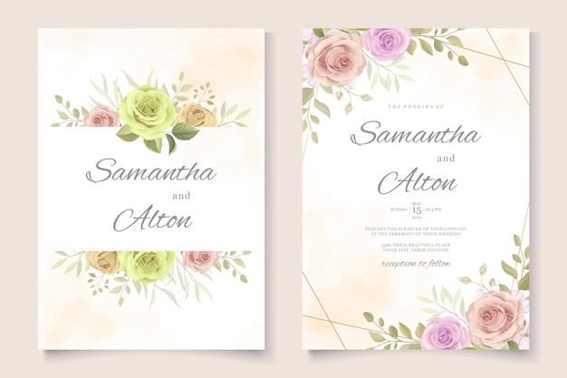 Set bruiloft kaart ontwerp met mooie rozen