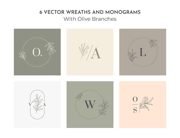 Set bruiloft monogram en logo's met olijftak in moderne minimale voeringstijl. vector floral sjablonen voor uitnodigingskaarten, save the date. botanische rustieke illustratie, beauty studio, spa