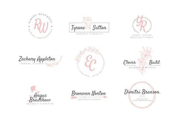 Set bruiloft monogram logo's