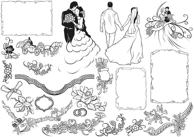 Set bruiloft ontwerpelementen